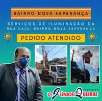 Concluído a pedido do Vereador Dr. Júnior Queiroz referente a iluminação do bairro Nova Esperança